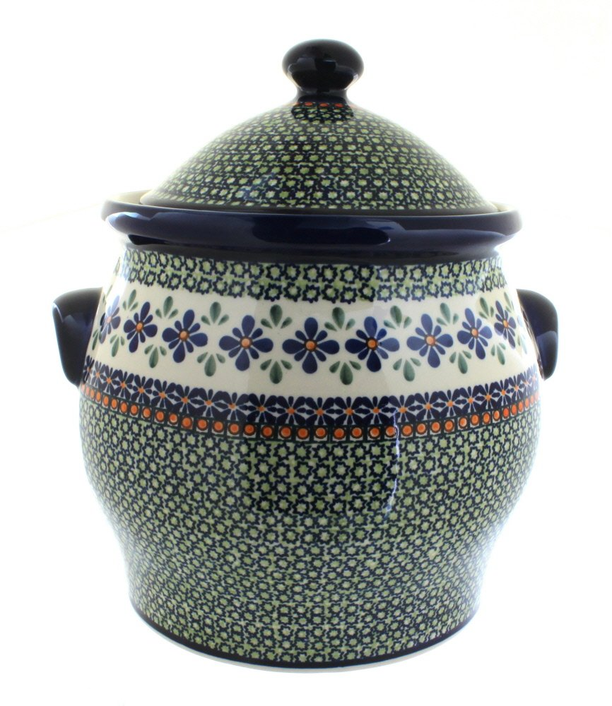 Polish Pottery Mosaic Flower Cookie Jar