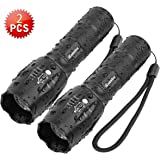 Tactical Flashlight iCoostor T6 Handheld LED Torches Flashlight Super Brightness Waterproof Taclight As Seen On Tv5 Modes Zoomable Focus For Outdoor (2pcs)