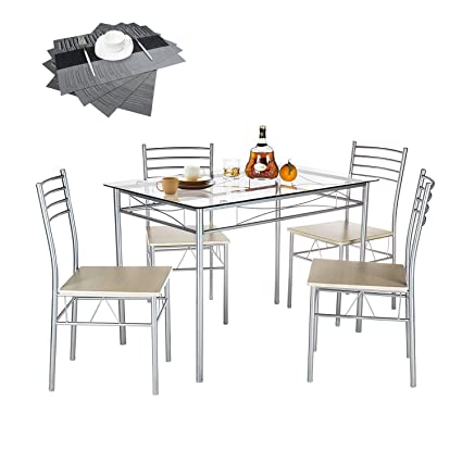 Attirant VECELO Dining Table With 4 Chairs Silver