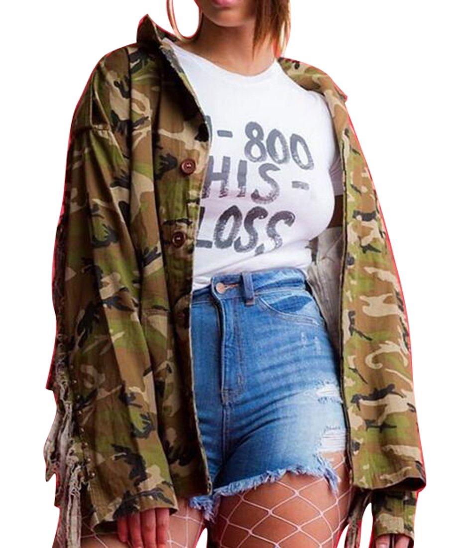 UUYUK-Women Long-Sleeve Sexy Casual Tops Fringe Camo Outwear Cardi Jackets one US S