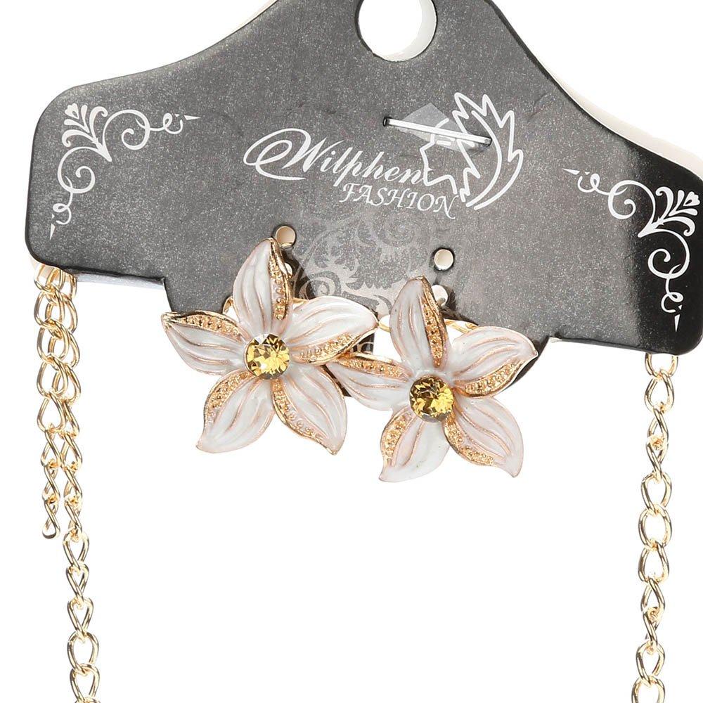 Joopee Fashion Elegant Bellwort Flower Shape Pendant Chain Crystal Velvet Necklace Gift for Women Girls Ladies
