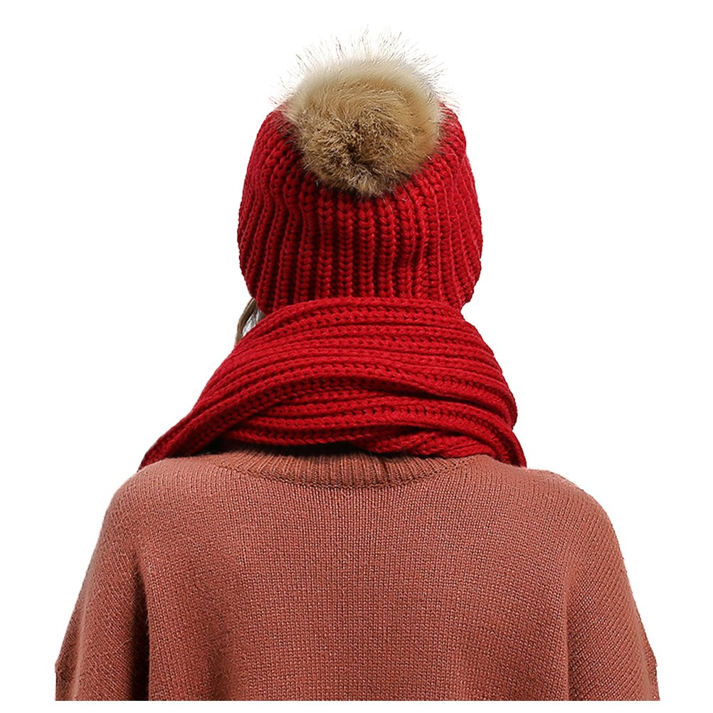 Jelinda Women's Autumn Winter Warm Knitted Hat and Scarf Set (Style 2 - Red) by Jelinda (Image #4)