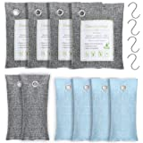 1Easylife Bamboo Charcoal Air Purifying Bag 10 Pack(4x200g, 2x75g, 4x50g) with 4 Hooks, Natural Air Purifying Bag, Activated Charcoal Odor Eliminators, Odor Eliminating Charcoal Bags