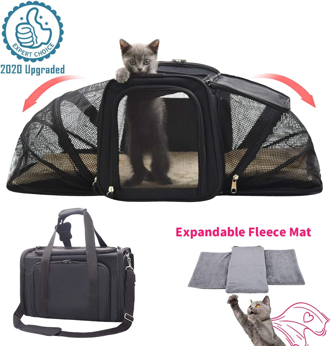FRUITEAM Soft Sided Pet Carrier Travel Bag,Expandable Cat Travel Carrier Soft-Side,Airline Travel Carrier Bag, Foldable Soft-Sided Cat Carrier 44cmL x 28cmW x 28cmH Pet Travel Bag, Safe and Easy for Rabbit/Small Dogs/Puppy/Kitten, with Removable Fleece Be