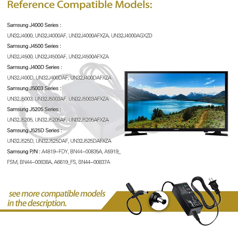 Omilik - Adaptador de CA a CC de 19 V para Samsung A4819-FDY UN32J4000AF UN32J4000AGXZD UN22H5000 UN32J4000 UN32J400DAF UN32J5205 BN44-00835A Cargador Compatible con Samsung Un32j5205af Un32j4000af: Amazon.es: Electrónica