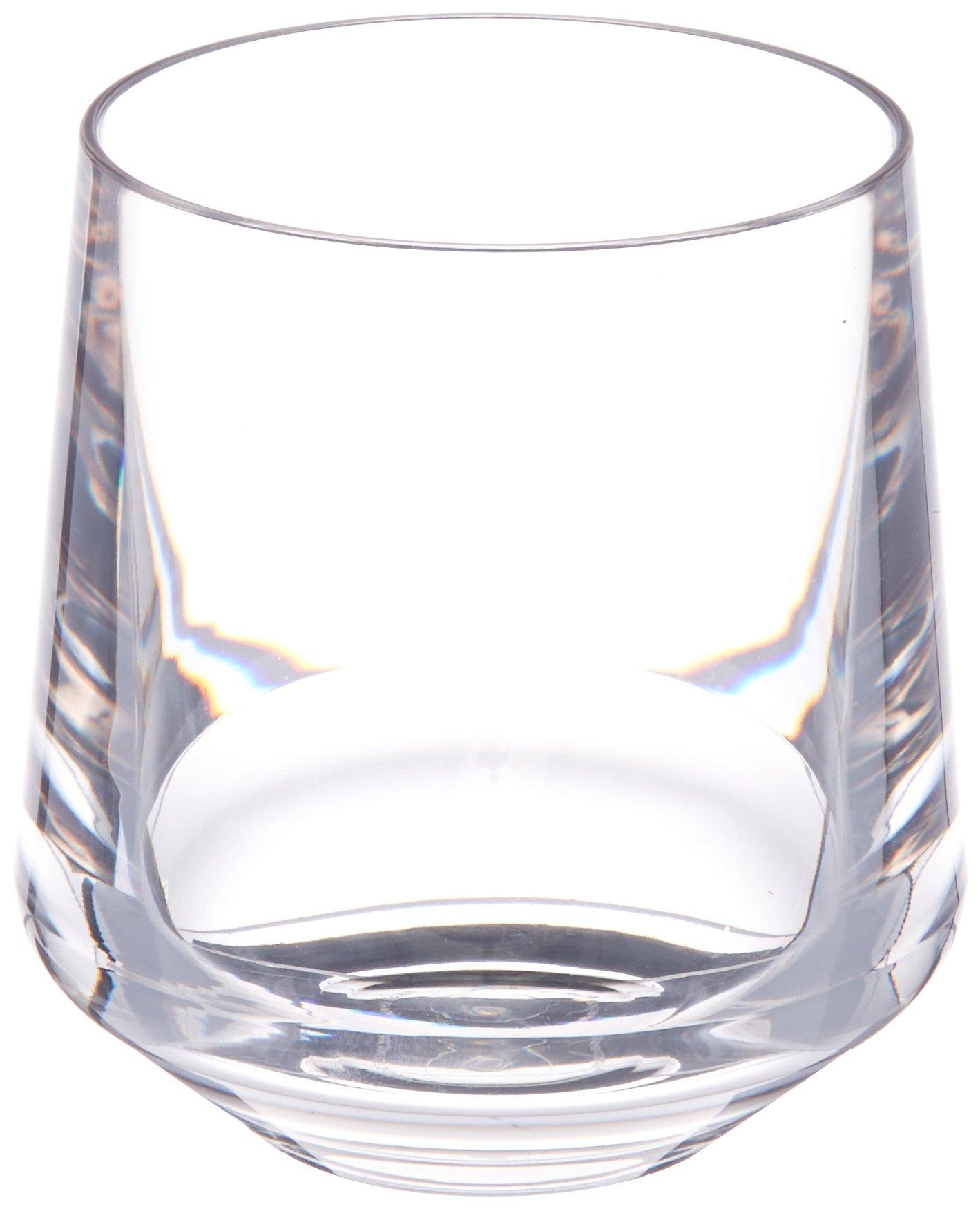 Drinique VIN-SW-CLR-4 Stemless Unbreakable Tritan Wine Glasses, 12 oz (Set of 4), Clear