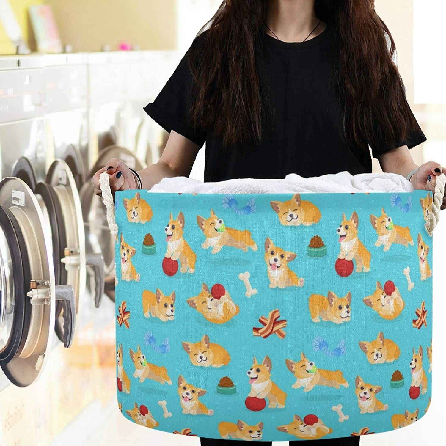 visesunny Collapsible Large Capacity Basket Funny Corgi Clothes Toy Storage Hamper with Durable Cotton Handles Home Organizer Solution for Bathroom Nursery Bedroom Laundry,Closet