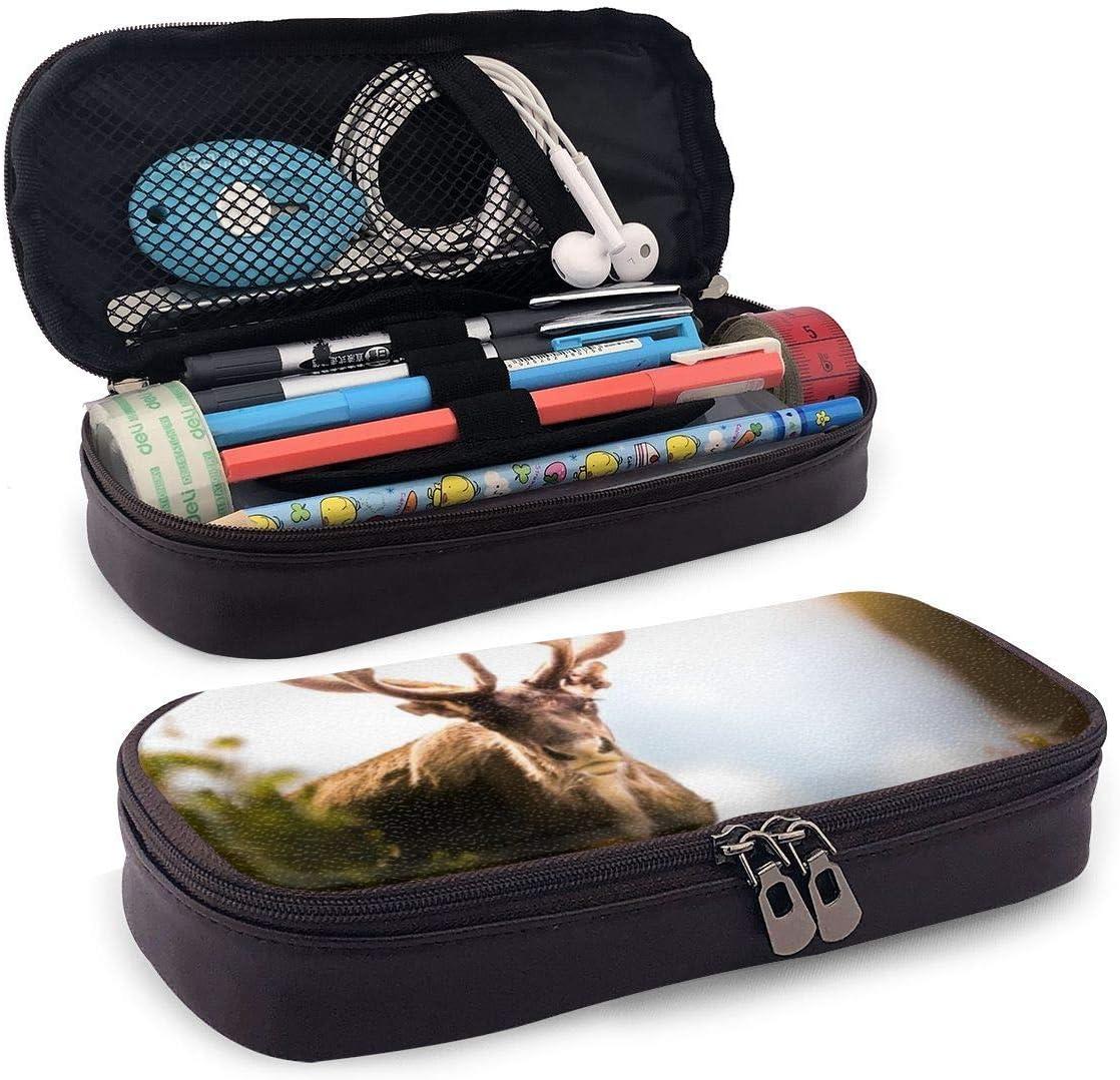 shenguang Lindo estuche para lápices de cuero con ciervo Big Horn con portalápices, papelería de gran capacidad, bolsa de cosméticos, auriculares Bluetooth, útiles escolares, estudiantes mas