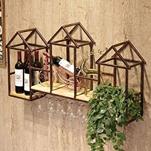 Bo Pin Wine Rack, Wrought Iron Frame Wooden Laminate, Nordic Wind Wall Hanging Three House Shape Creative Wine Rack Wine Rack Household Rack, 2 Colors Wine Rack (Color : Bronze, Size : 110X20X60CM)