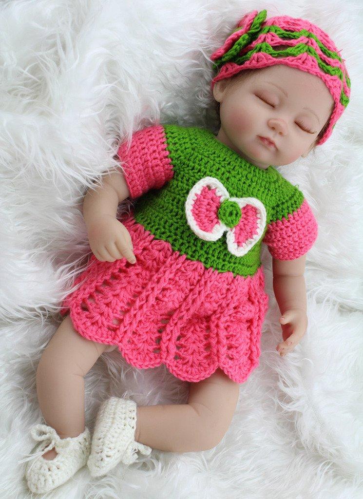 Real Life Sleep Baby Reborn人形Living Girl inかぎ針編みドレスキッズインタラクティブおもちゃギフト、17インチ   B01DYEG3E0