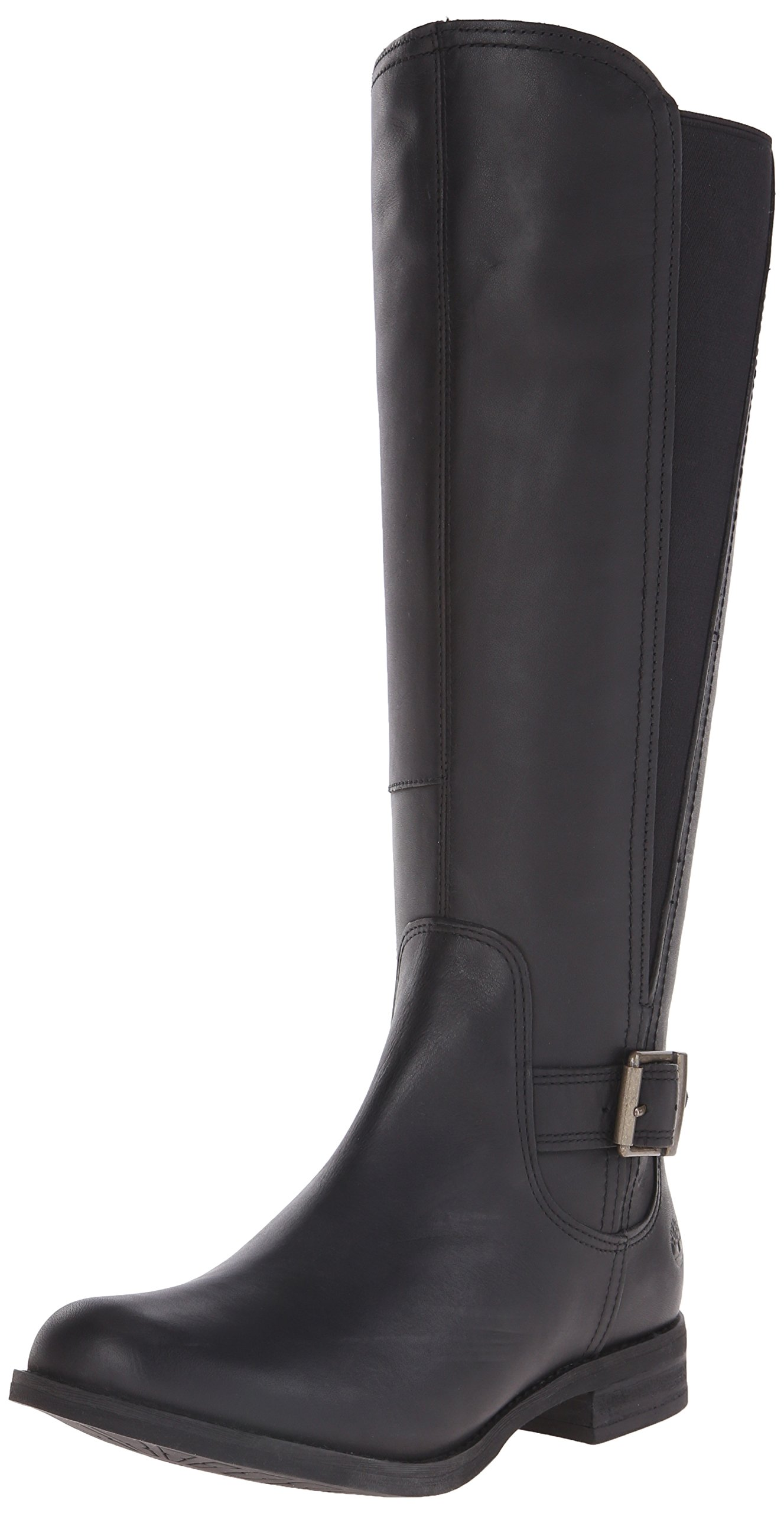 Timberland Women's Savin Hill Medium Shaft Tall Boot, Black Smooth, 8 M US