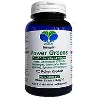Power Greens Top 8 Chlorophyll Pflanzen 120 Pulver Kapseln Natur Pur NICHT hochdosiert KEIN Extrakt OHNE Zusatzstoffe OHNE Füllstoffe. Hergestellt und abgefüllt in Deutschland. 26331