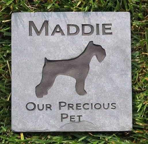 Amazon.com: Memorial Gifts, Dog Memorials, Schnauzer Pet Memorial Stone 6 x 6 Inch Natural Slate Grave Marker, All Breeds Available: Handmade