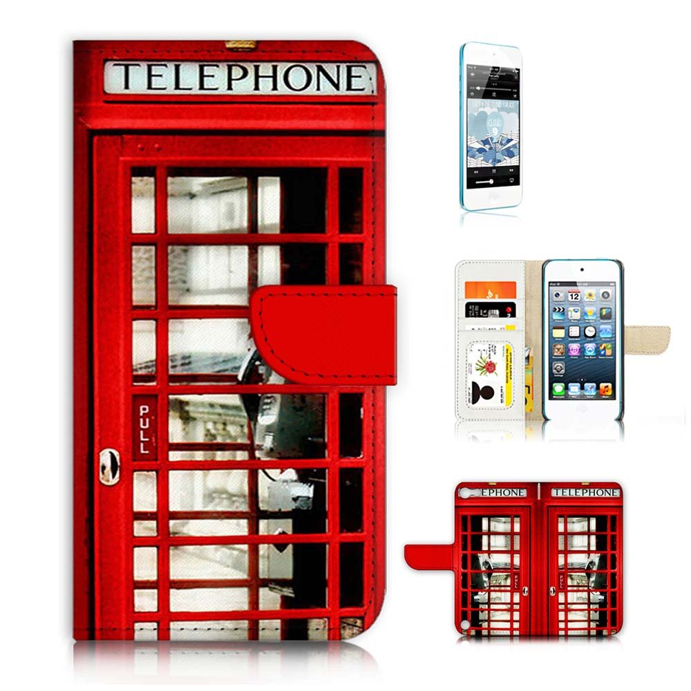 ( For iPod Touch 5 iTouch 5 ) Flip Wallet Case Cover & Screen Protector Bundle! A0096 British Red Phone Booth