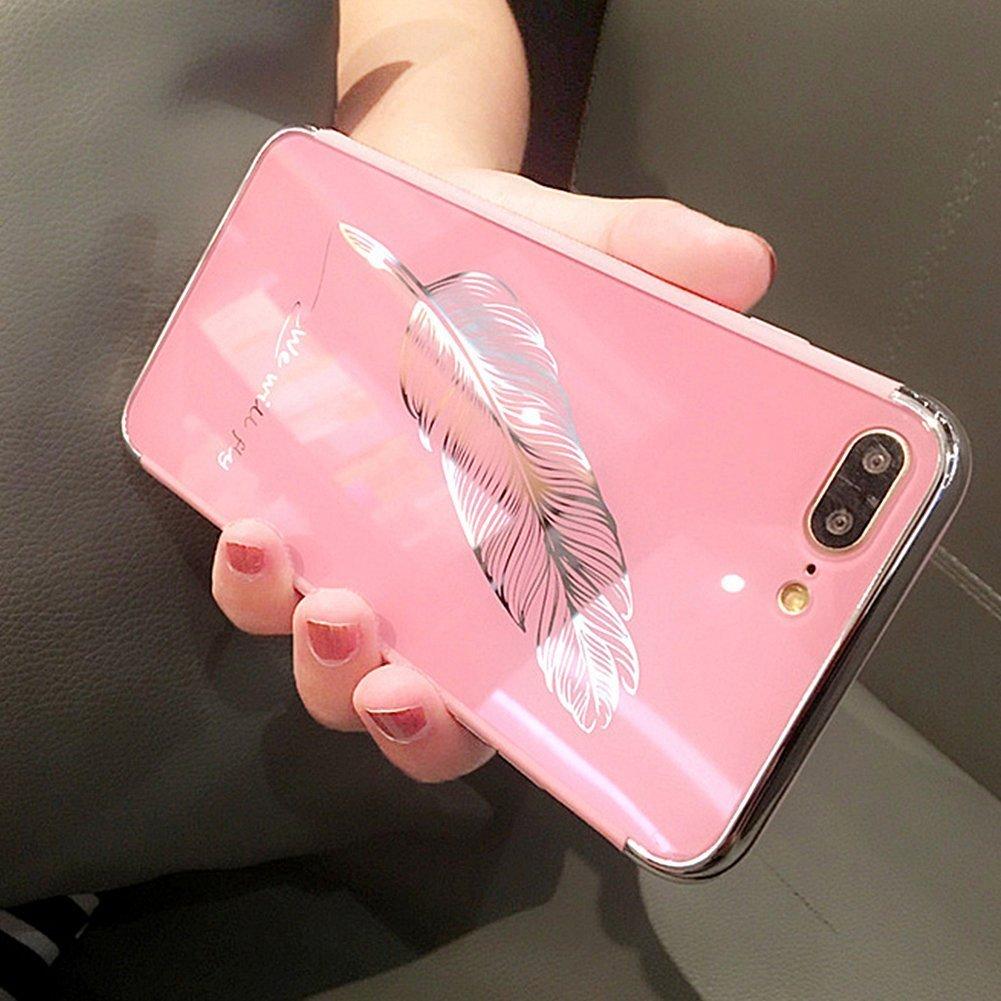 Etsue Espejo Funda iPhone 7 Plus,iPhone 8 Plus Carcasa Silicona Bling Brillante Brillar Brillo Espejo Reflejo Diamante Funda Pluma Dibujos Purpurina ...