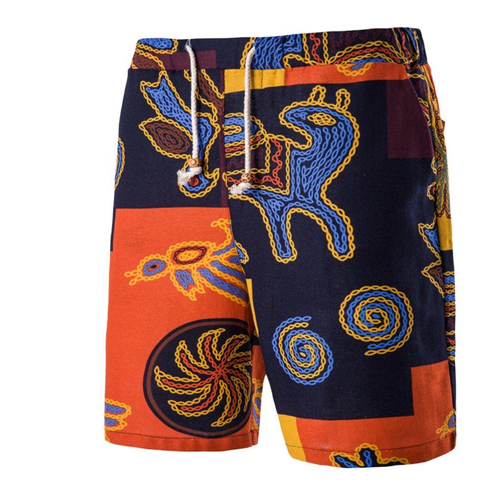 POHOK Men Shorts Floral Men's Retro Summer Beach Casual Print Drawstring Five Cents Trousers Pants (M,Yellow)