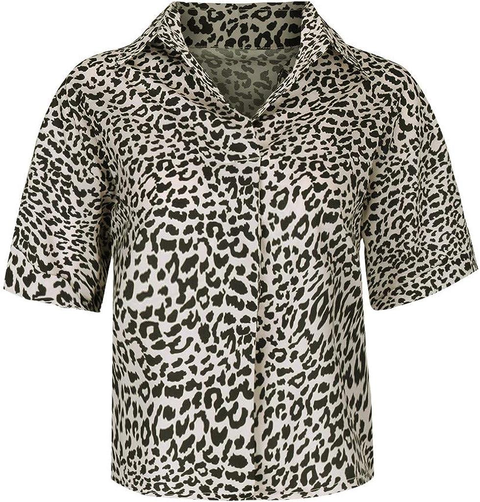 Tosonse Femme Blouse Top Manche Courte Imprim/é L/éopard T-Shirt 2019 Shirt Plage Col V Haut Chemise Tee Retro