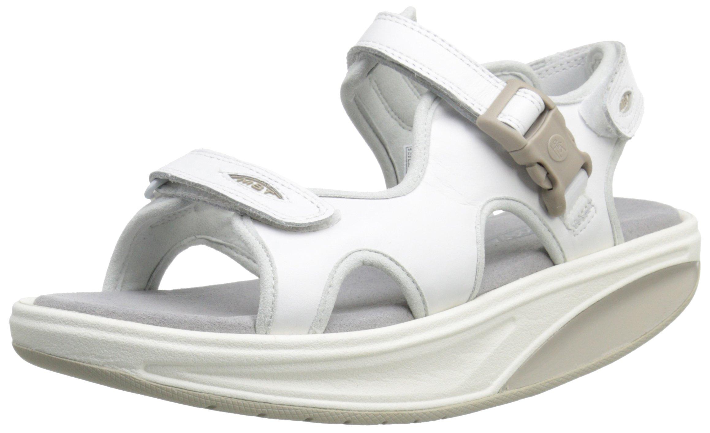 MBT Women's Kisumu 3s W Adjustable Sandal, White, 37 EU/6-6.5 B(M) US by MBT