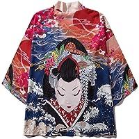 Mujer Japonés Kimono Chaqueta,Kimono Haori Estilo Japonés Camisa Talla Grande con Estampado Manga Tres Cuartos Pijamas…