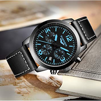 KULY&GG Reloj Impermeable para Hombres, Vestido De Negocios Relojes De Pulsera De Cuarzo Luminoso Informal