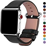 Fullmosa Compatible Apple Watch Band 44mm 42mm 40mm 38mm Calf Leather Compatible iWatch Band/Strap Compatible Apple Watch Series 4 Series 3 Series 2 Series 1,44mm 42mm Black