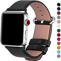 Fullmosa YAN Correa Cuero Compatible Apple Watch/iwatch Series 3, Series 2, Series 1, Apple Watch Correa/Pulsera/Banda 38mm 42mm, Negro, 42mm