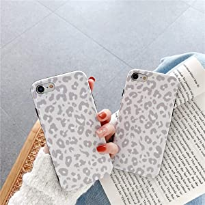INS Cold Gray Leopard Print Soft Case for Apple iPhone 7 8 SE 2020 with Fashion Frame Cute Design Skin Cellphone Accessories Protective Cover for iPhone 7 & 8 & SE 2020 Cases