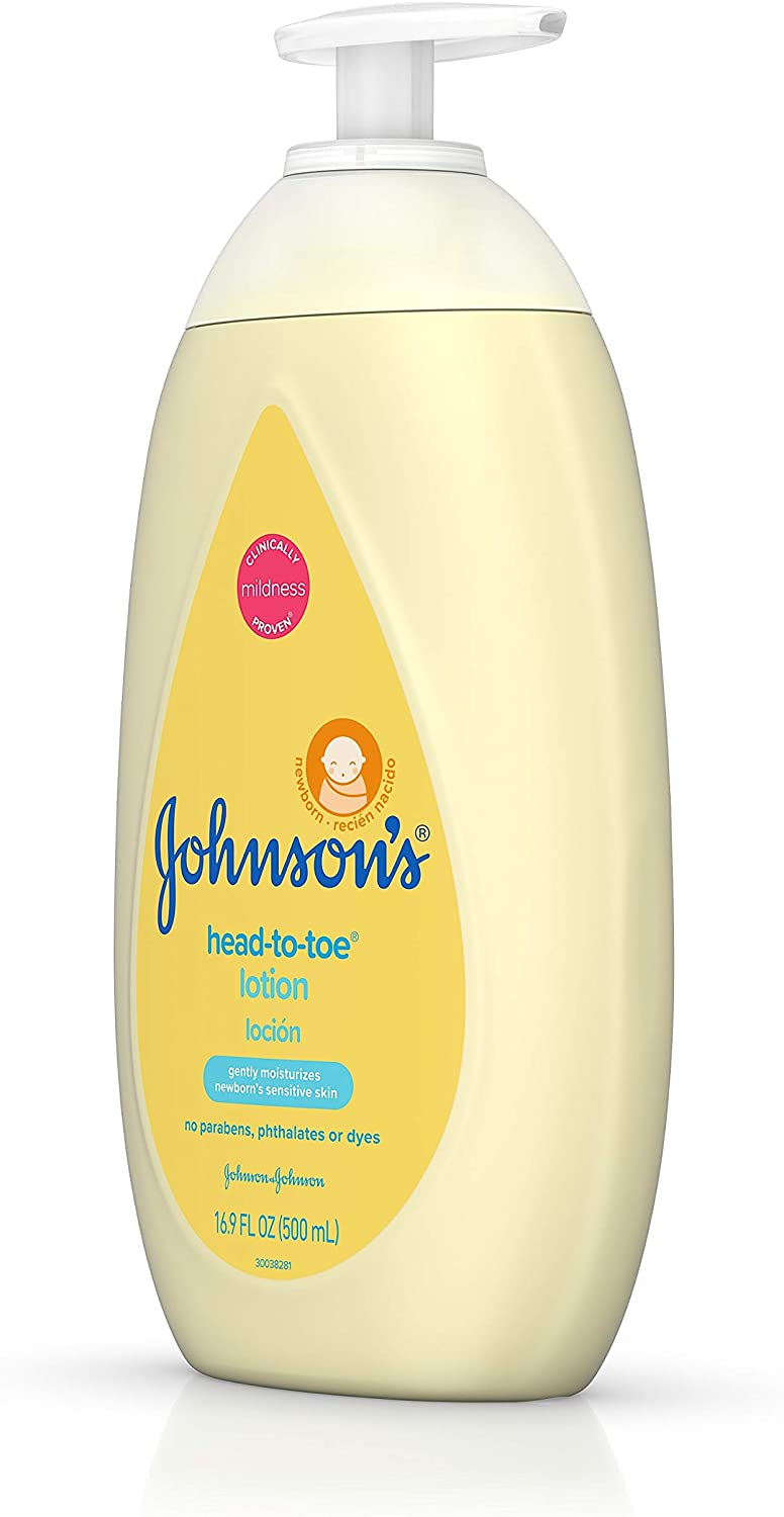 Johnson's Head-to-Toe Moisturizing Baby Body Lotion, Hypoallergenic and Paraben Free, 16.9 fl. Oz (Pack of 3)