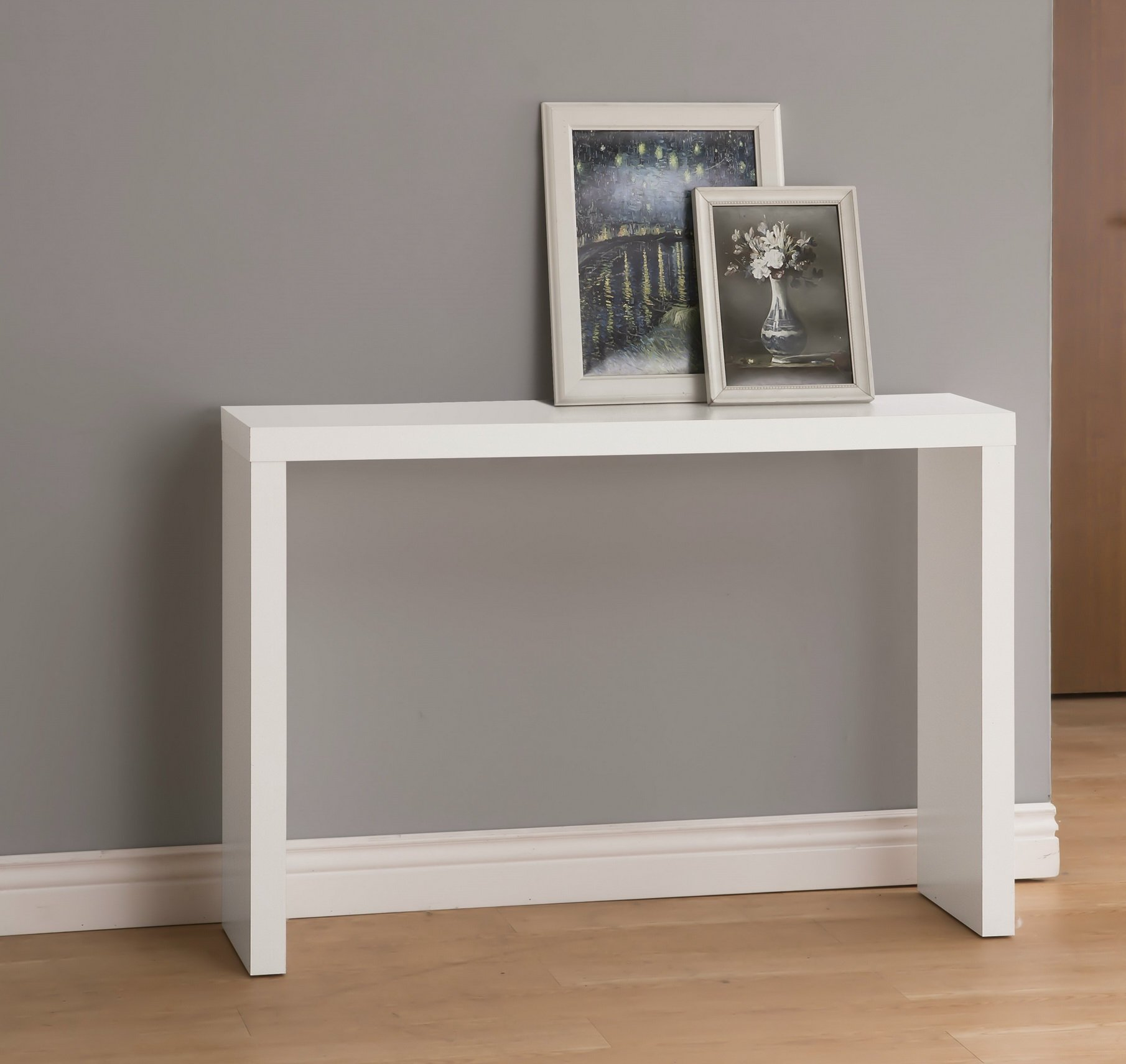White Finish Modern Console Sofa Entry Table by eHomeProducts