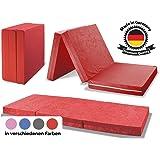 MADE IN GERMANY - Faltmatratze Klappmatratze DANIELA 80x195x10cm - abnehmbar & waschbarer Bezug - als Gästebett, Gästematratze, Notbett oder Klappbett einsetzbar (rot)