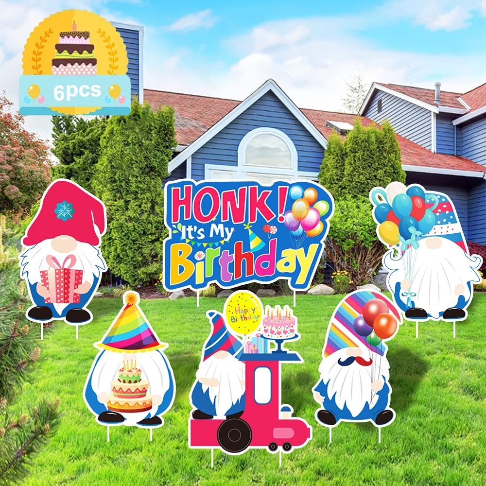 6 PCS Happy Birthday Yard Signs Decorations, Colorful Gnomes Lawn Garden Outdoor Ornaments Sign with Stakes, Waterproof Yard Signs Decor Holiday Party Supplies for Landscape Patio Lawn Backyards