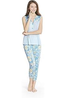 Watercolor Blooms Print Women PJ Pajamas Set 259b0292f