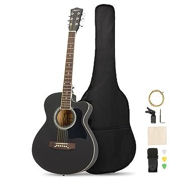 ARTALL Kit de iniciación de guitarra acústica de madera maciza de 99 cm hecho a mano con afinador, cuerdas, púas, correa, negro mate: Amazon.es: ...