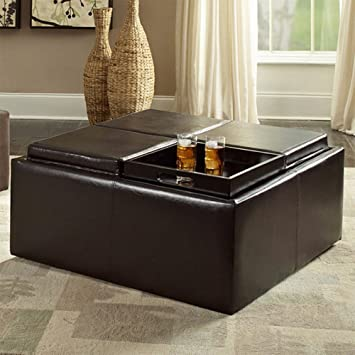 Attractive Weston Home Coffee Table Ottoman With 4 Trays In Faux Leather