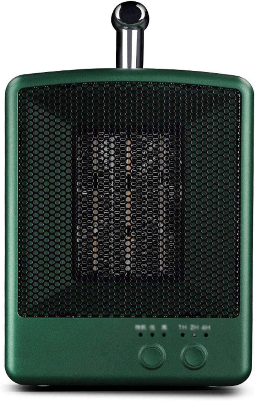 TWW Calentador Eléctrico Interior Protección contra Sobrecalentamiento Calentador De Ventilador Calentador con Temporizador Inteligente Adecuado para Uso En Escritorio De Oficina,Verde