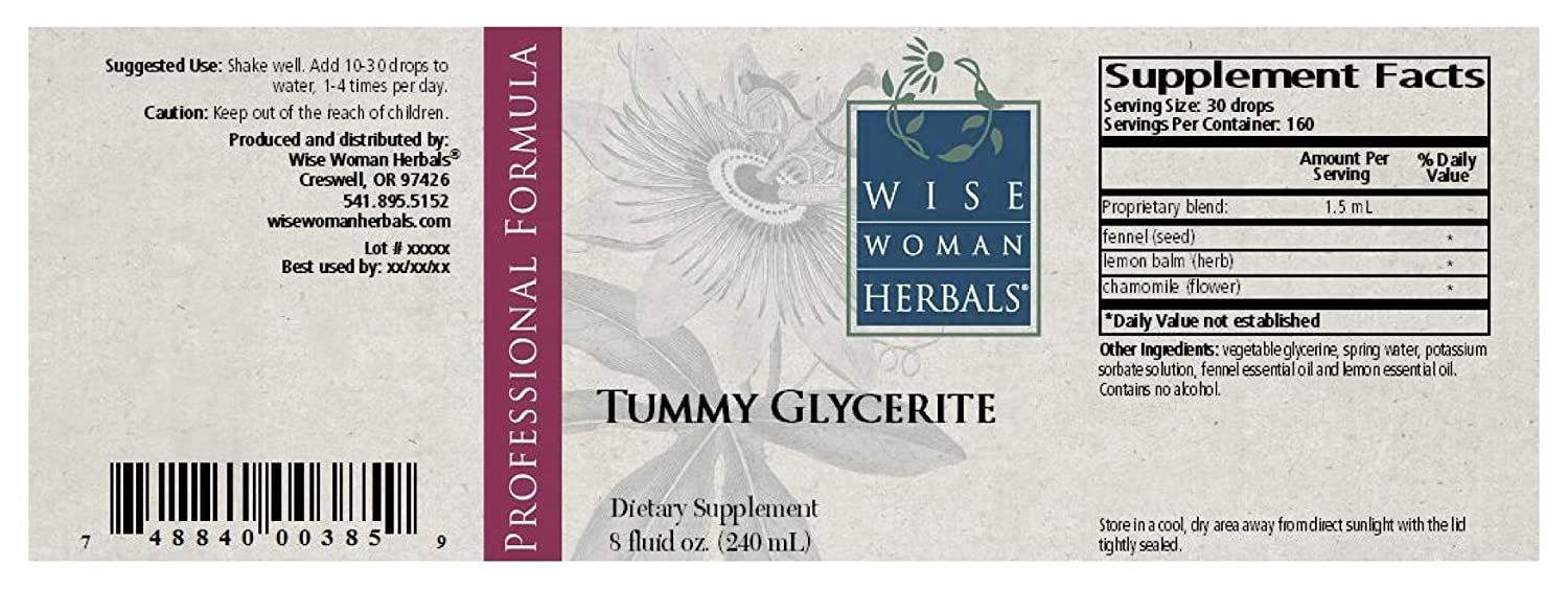 Wise Woman Herbals Tummy Glycerite 8 Oz Aid for Stomach Discomfort, Queasiness, Gas and Bloating, Helps Aid Stomach Upset from Mild Nervous Tension, Promotes Healthy Digestive Function