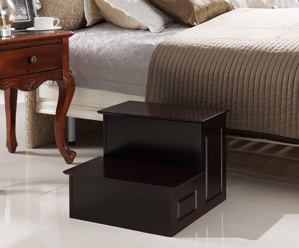 Kings Brand Furniture - Danial Large Wood Bedroom Step Stool, Cherry