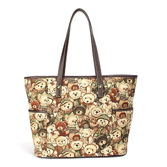 Women s Canvas Tote Winnie The Pooh Bear Handbag Retro Leisure Shoulder Bag  High Capacity Lady Bag 70ad968e71