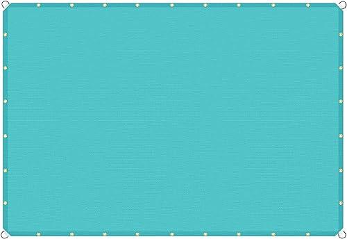 TANG Sunshades Depot 17'x36' Straight Side Sun Shade Sail 180 GSM Turquoise Green Patio Rectangle Shade Fabric UV Blocker Shelter Deck Dock Carport Driveway Pergola Cover Backyard Deck 3Year Warranty