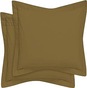 "European Square 2 Pieces Luxury 100% Egyptian Cotton Pillow Shames ,Super Soft Decorative(European Pillow Sham(26"" x 26"") Taupe)"