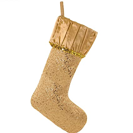 valery madelyn 21 luxury gold christmas stocking with sequins and ruffled cuff designthemed - Gold Christmas Stocking