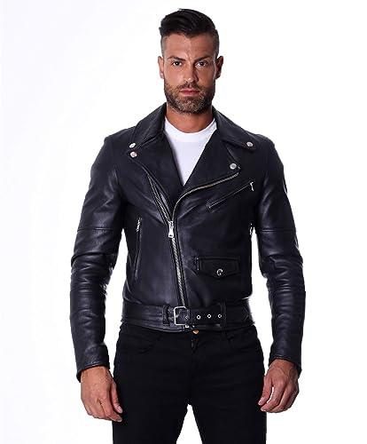 0b0a65400a Blouson Perfecto en cuir homme noir Made in Italy avec ceinture ...
