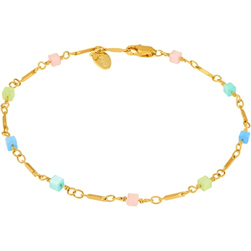 Lifetime Jewelry Ankle Bracelets for Women and Teen Girls 24k Gold Plated Colorful Square Beads Anklet Sturdy Foot Chain with Free Lifetime Replacement Guarantee 9 10 and 11 inches Charm Bracelet