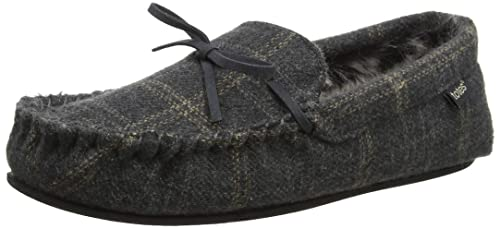 10b8fe98216e Totes Mens Fur Lined Check Mule Slippers
