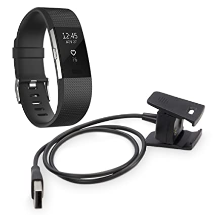 Fitbit Charge 2 Charger, BoxWave [ChargeClip] Charging Clip for Fitbit Charge 2 - Jet Black