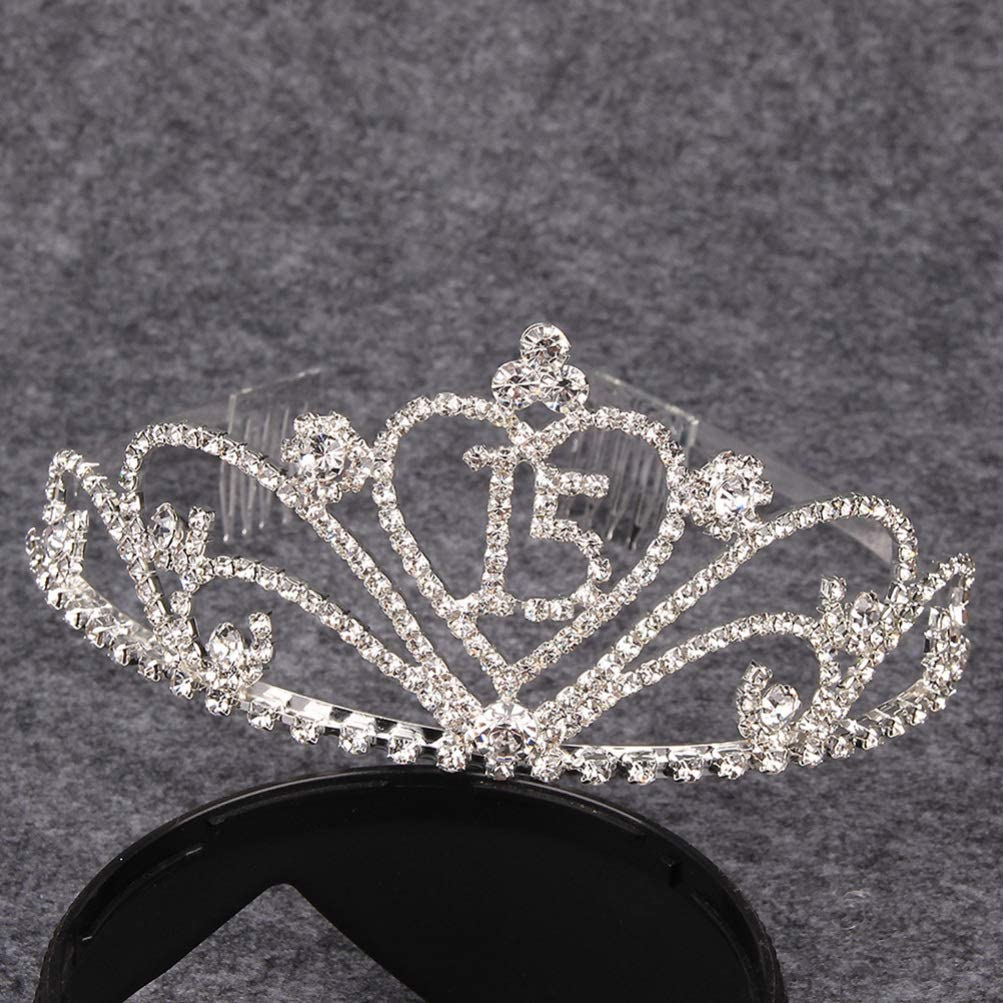 Amosfun Diamantes de Imitaci/ón de Cristal Mujeres 15 Cumplea/ños Tiara Corona 15 Cumplea/ños Aniversario de Bodas Regalo de La Joyer/ía