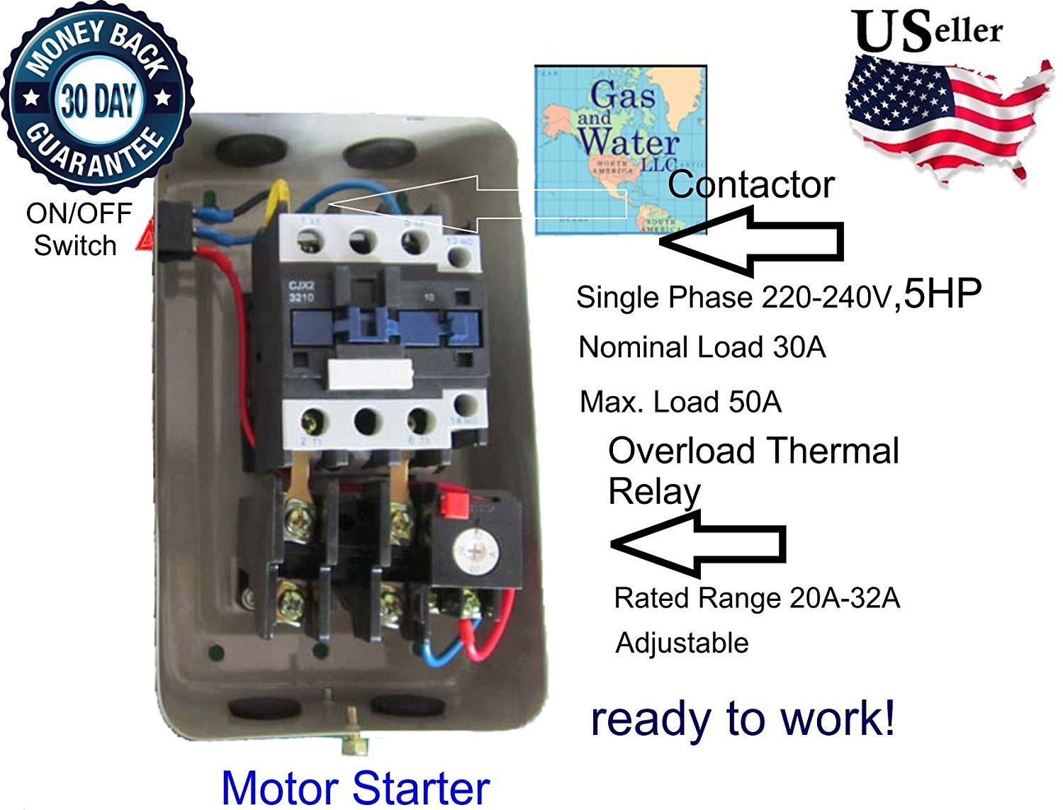 Magnetic Electric Motor Starter Control 5 Hp Single Phase 220 240v Wiring 22 34a With On Off Switch Box Protection