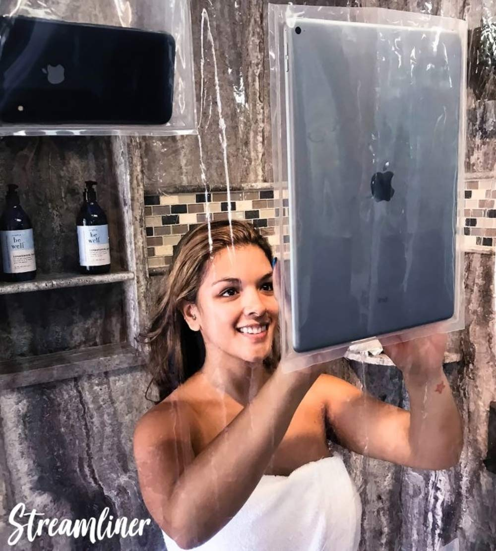 Streamliner Clear Shower Curtain Liner with Pockets for all smart devices and tablets   iphone iPad/pro/android holder   Stream Netflix, Youtube, Baby monitor, music & answer phone calls in the shower Inevitable Imports