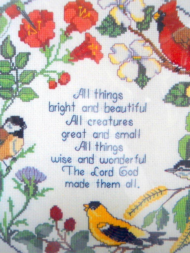 New Circle of Songbirds Cross Stitch Kit Aida Hymn Quote 1985 14x14 Janlynn