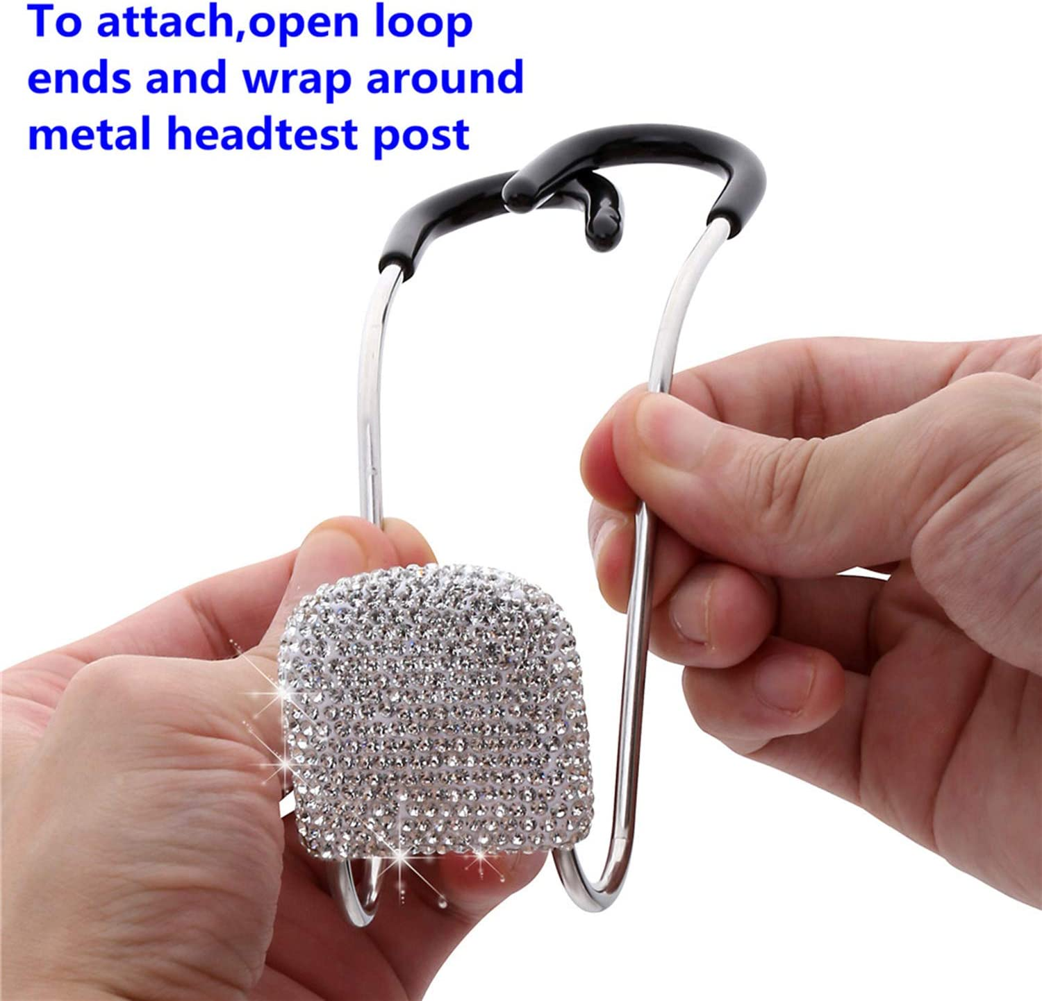 2pcs Auto Hooks Strong and Durable Backseat Hanger Storage Universal for SUV Truck Vehicle. Bling Car Hangers Handmade Rhinestones Crystal Car Hangers Organizer Seat Headrest Hooks Sliver
